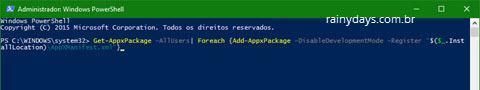 comando reinstalar apps do Windows 10