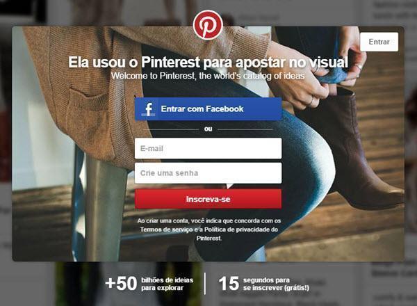 Como criar conta no Pinterest