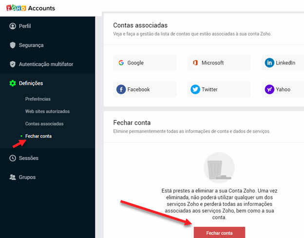 Como excluir conta Zoho e Zoho Mail permanente