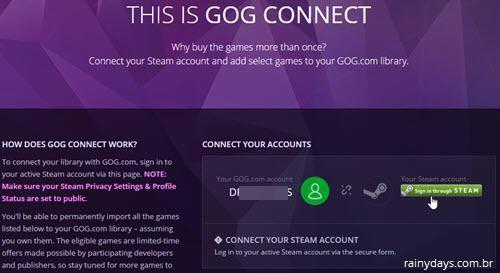 conectar conta GOG com Steam
