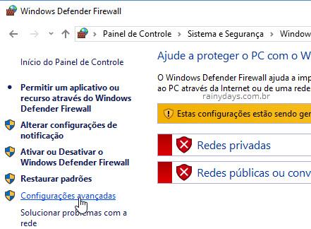 Configurações avançadas do Windows Firewall