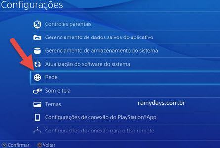 configurações de rede PS4
