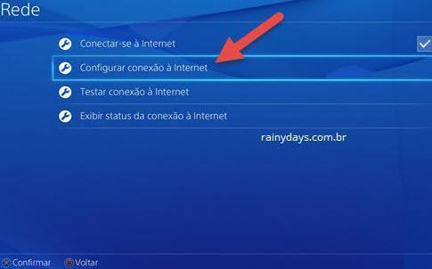 configurar conexão a internet no PS4