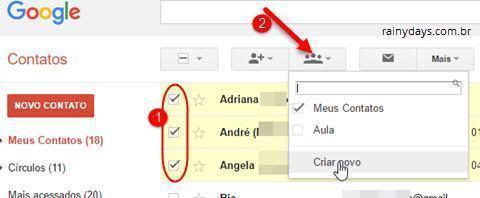 criar grupos de contatos no Gmail