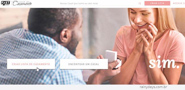 Criar lista de casamento na FastShop