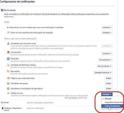 Como desativar notificações de vídeos ao vivo no Facebook