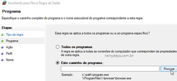 Este caminho de programa firewall Windows