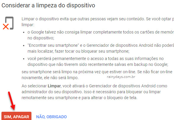Limpeza do dispositivo perdido roubado Android Google