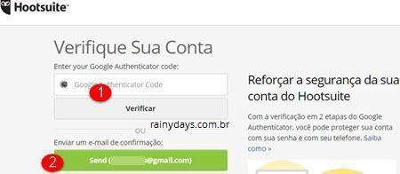 login com código no Hootsuite 2