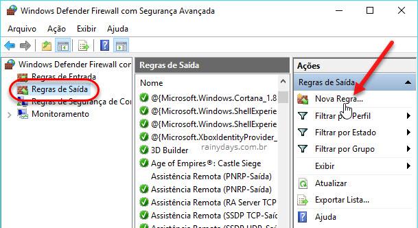 Nova regra de saída Firewall do Windows