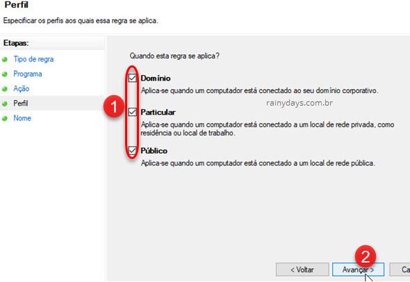 Regra firewall Windows aplica Domínio Particular Público