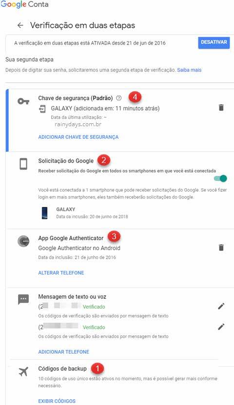 verificação em duas etapas Google opções para gerar códigos