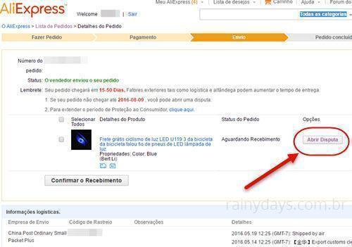 Abrir disputa na AliExpress para produto não entregue 2