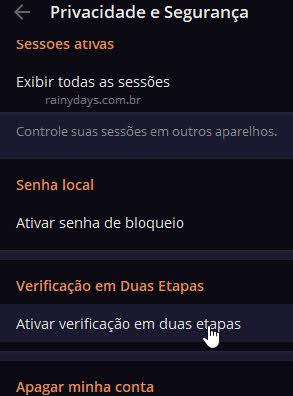 Ativar verificação em duas etapas Telegram desktop