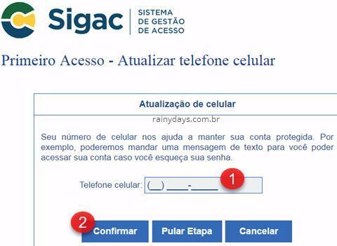 atualizar telefone celular SIGAC