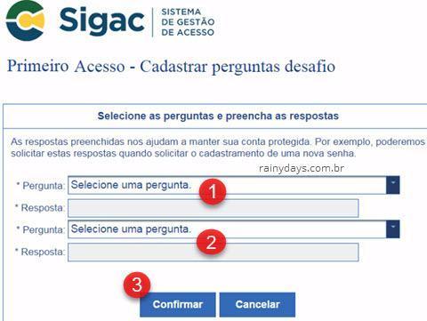 cadastrar perguntas de segurança no SIGAC