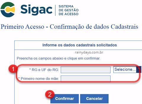confirmação de dados cadastrais SIGAC