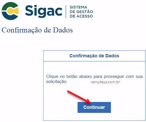 confirmar dados no portal SIGAC