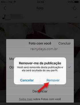 confirmar remover nome marcada em foto Instagram