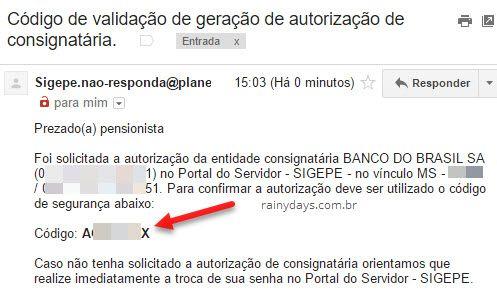 email com código de validação consignado SIGEPE