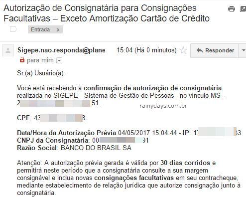 email Confirmação autorização consignatária para consignações facultativas sigepe