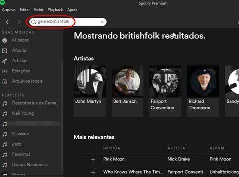 Fazer buscas pelos gêneros do Spotify