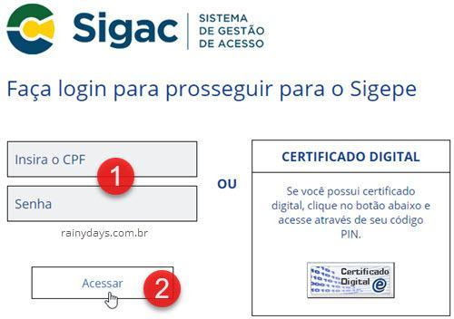 login no SIGEPE SIGAC