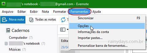 opções do Evernote