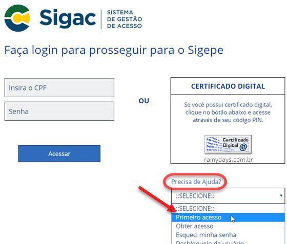 primeiro acesso portal SIGEPE servidor pensionista SIGAC