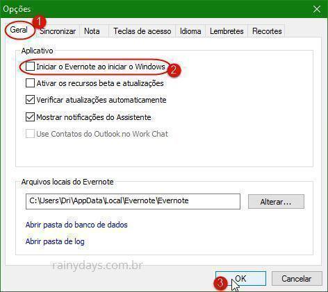 remover Evernote da inicialização