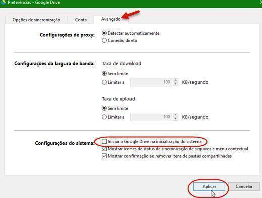 Remover Google Drive da inicialização do Windows 2