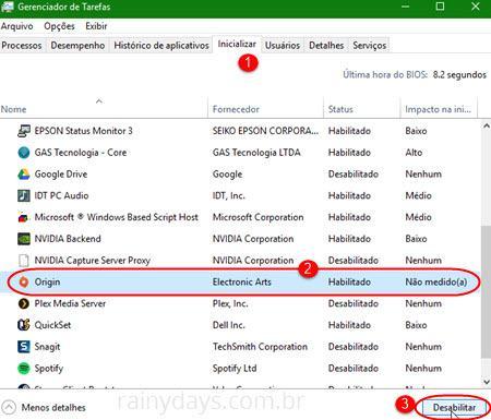 Remover Origin da inicialização do Windows 3