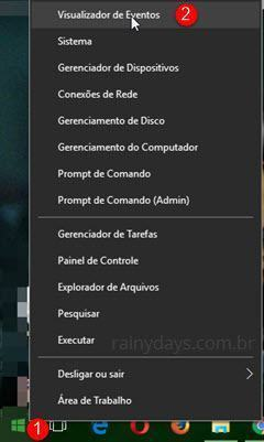 visualizador de eventos do Windows