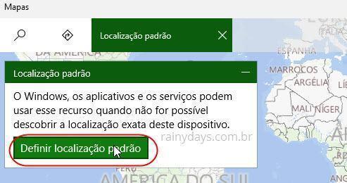 adicionar sua localização padrão no Windows 10