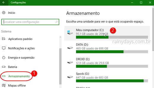 Armazenamento do Windows 10