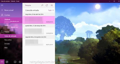 Atalhos de teclado do app Email e Calendário do Windows 10