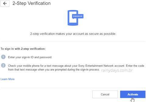 Como ativar verificação em duas etapas na PSN 4