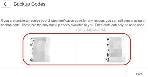 códigos de backup login PSN