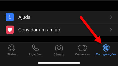 Configurações app WhatsApp iPhone