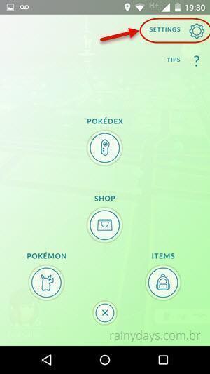 configurações do Pokémon Go