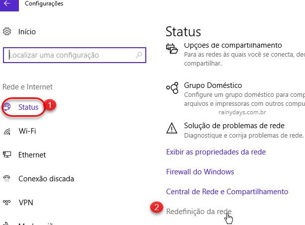 Configurações Status Redefinição de Rede Windows 10