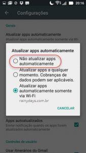 Desativar atualização automática de aplicativos no Android