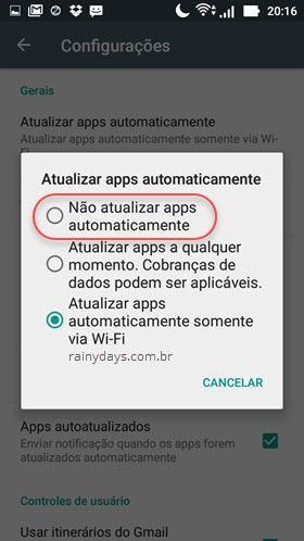 Desativar atualização automática de aplicativos Android 2
