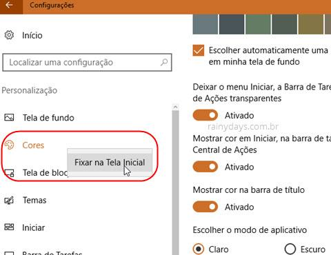 Fixar Cores na Tela Inicial do Windows