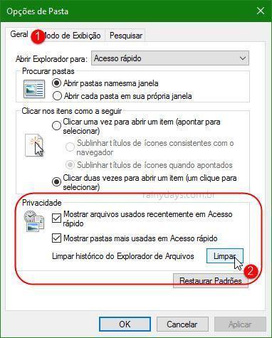 Como limpar histórico de Arquivos Recentes do Windows 10