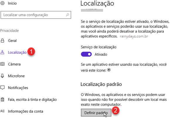 Localização Definir Localização Padrão Windows