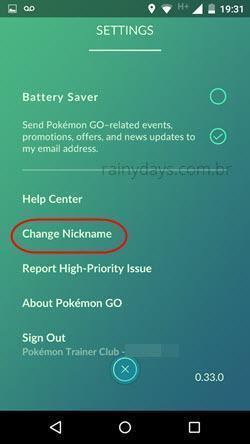 mudar apelido no Pokémon Go
