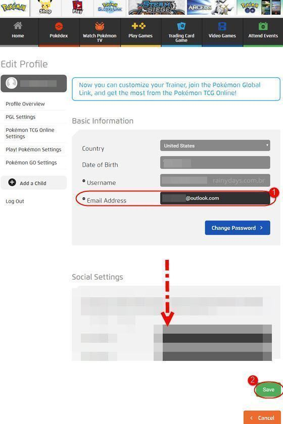 Como mudar email do Pokémon Go