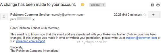 Como mudar email do Pokémon Go 3