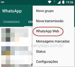opção WhatsApp Web no app WhatsApp